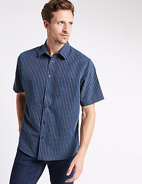 Modal Blend Easy Care Striped Shirt , INDIGO, catlanding