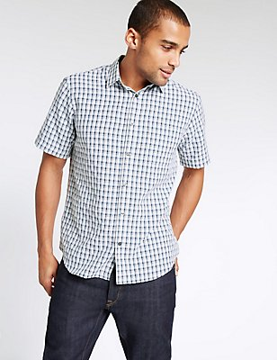 Modal Rich Easy Care Shirt with Pocket, WHITE MIX, catlanding