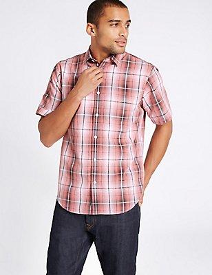 Modal Blend Easy Care Shirt with Pocket, POPPY MIX, catlanding