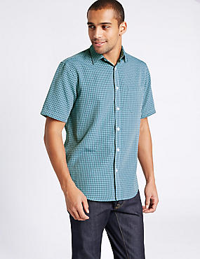 Modal Rich Easy Care Shirt with Pocket, JADE MIX, catlanding