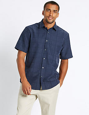 Easy Care Modal Rich Textured  Shirt , NAVY, catlanding