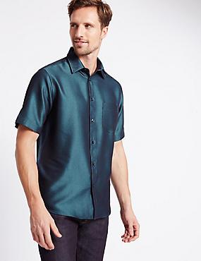 Short Sleeve Easy Care Soft Touch Shirt with Modal, COBALT, catlanding
