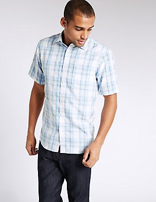 Modal Rich Easy Care Shirt with Pocket, BLUE MIX, catlanding