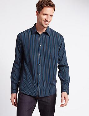 Modal Rich Soft Touch Striped Shirt, TEAL MIX, catlanding