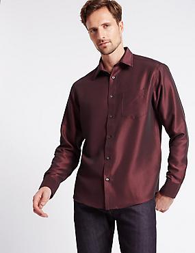 Modal Blend Classic Collar Soft Touch Shirt, OXBLOOD, catlanding