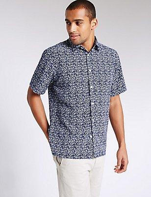 Easy Care Leaf Print Shirt, BLUE, catlanding