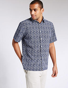 Easy Care Leaf Print Shirt, BLUE, catlanding