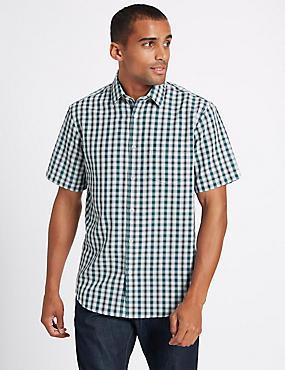 Easy Care Modal Printed Shirt , DARK TEAL, catlanding