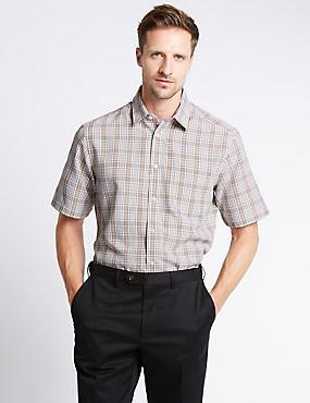 Short Sleeve Checked Shirt, TOFFEE, catlanding