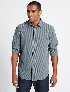 Easy Care Modal Rich Textured Shirt, BLUE, catlanding