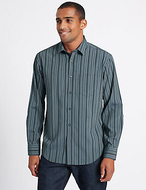 Easy Care Modal Rich Striped Shirt, NAVY MIX, catlanding