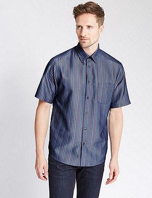 Modal Blend Easy Care Soft Touch Striped Shirt, MULTI, catlanding