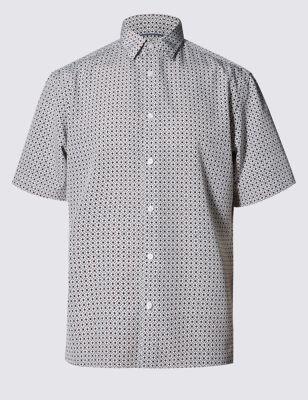 Рубашка Easy Care с коротким рукавом и мозаичным принтом от Marks & Spencer