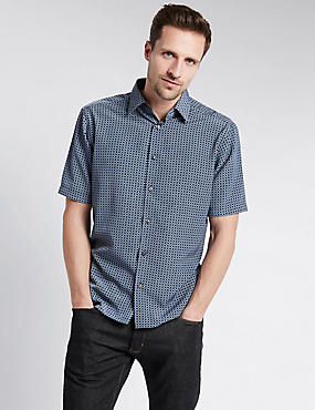 Easy Care Soft Touch Geometric Print Shirt