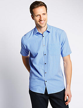 Modal Blend Easy Care Soft Touch Dobby Checked Shirt
