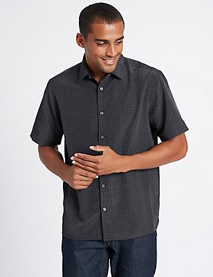 Easy Care Modal  Printed Shirt, BLACK MIX, catlanding