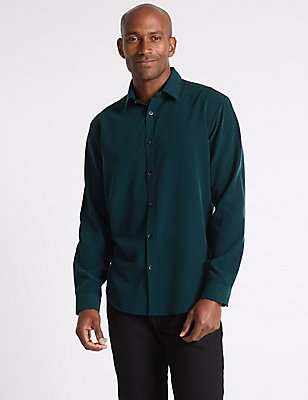 Luxury Soft Touch Geo Print Shirt, EVERGREEN, catlanding
