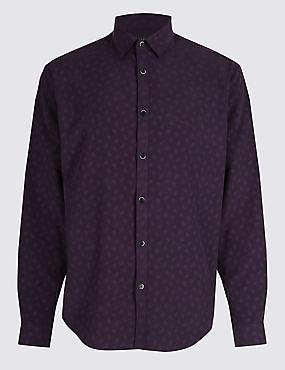 Luxury Soft Touch Paisley Print Shirt, AUBERGINE, catlanding