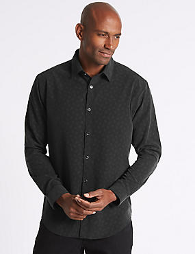 Luxury Soft Touch Paisley Print Shirt, BLACK, catlanding
