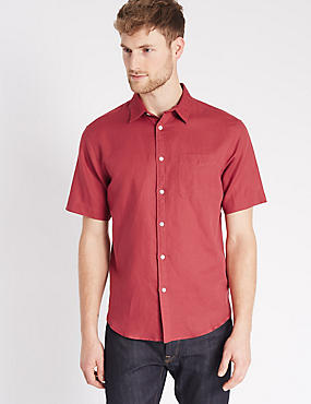 Linen Blend Shirt with Pocket, CORAL, catlanding
