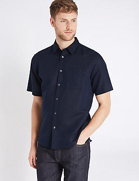 Linen Blend Shirt with Pocket, NAVY, catlanding