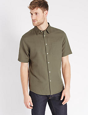 Linen Blend Shirt with Pocket, KHAKI, catlanding