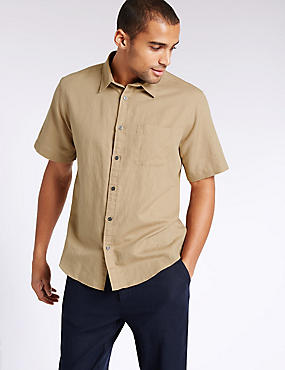 Linen Blend Shirt with Pocket, NEUTRAL, catlanding