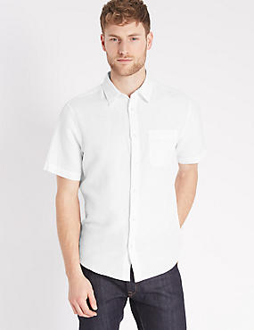 Cotton Blend Shirt with Pocket, WHITE, catlanding