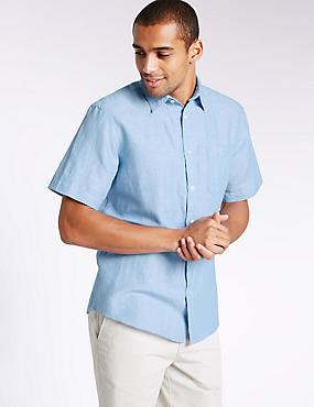 Linen Rich Slim Fit Shirt with Pocket, BLUE, catlanding
