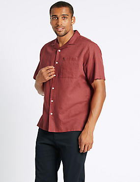 Linen Rich Shirt with Pocket, CORAL, catlanding