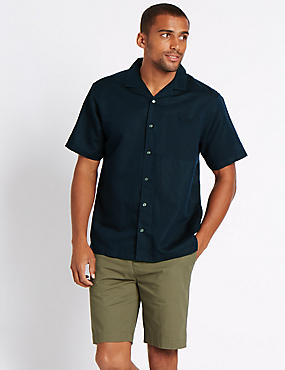 Linen Rich Shirt with Pocket, NAVY, catlanding