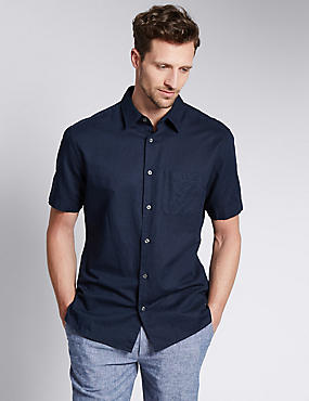 Cotton Blend Tailored Fit Shirt with Pocket, NAVY, catlanding