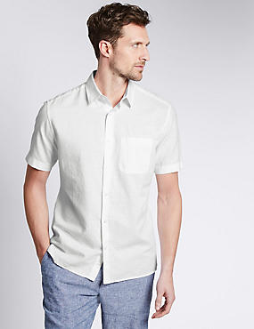 Cotton Blend Tailored Fit Shirt with Pocket, WHITE MIX, catlanding