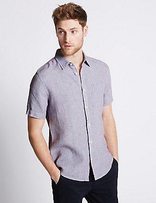 Pure Linen Easy Care Slim Fit Shirt , PURPLE, catlanding