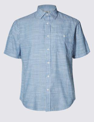 Лёгкая рубашка из чистого хлопка в полоску с рябью от Marks & Spencer
