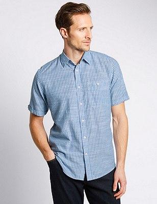 XXXL Pure Cotton Lightweight Slub Striped Shirt, NAVY, catlanding