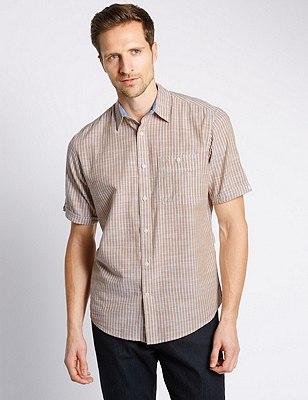 XXXL Pure Cotton Lightweight Slub Striped Shirt, NATURAL MIX, catlanding