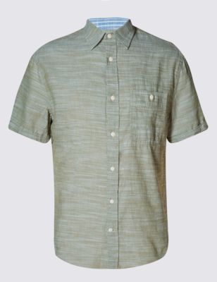 Лёгкая слегка приталенная рубашка из чистого хлопка с рябью от Marks & Spencer