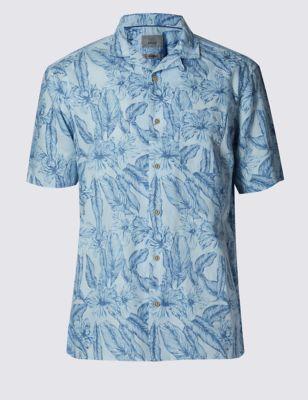 Льняная рубашка Easy to Iron с цветочным принтом