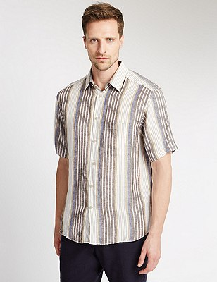 Pure Linen Easy to Iron Striped Shirt, BROWN MIX, catlanding