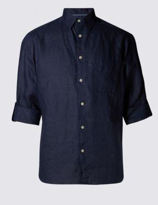 Однотонная рубашка Easy to Iron из чистого льна