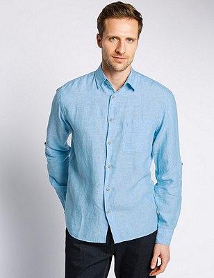 XXXL Pure Linen Easy to Iron Shirt, LIGHT BLUE, catlanding