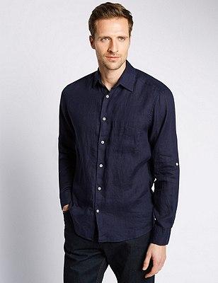 XXXL Pure Linen Easy to Iron Shirt, NAVY, catlanding