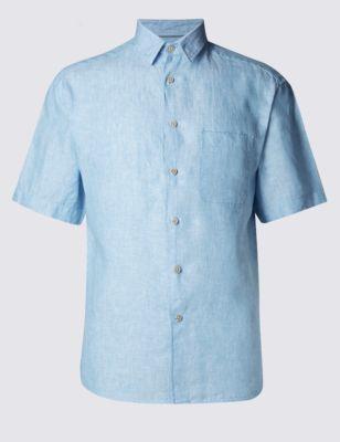 Рубашка Easy to Iron c коротким рукавом из чистого льна от Marks & Spencer