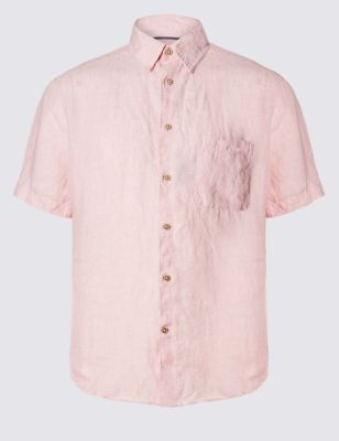Слегка прталенная рубашка из чистого льна Easy to Iron