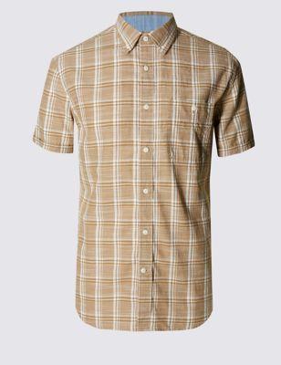 Рубашка из чистого хлопка в клетку с рябью
