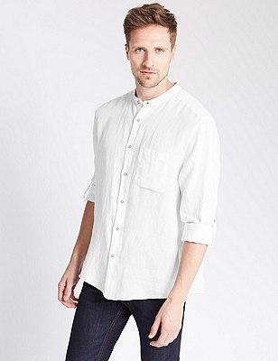 Pure Linen Easy to Iron Granddad Collar Shirt, WHITE, catlanding