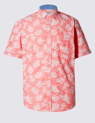 Лёгкая рубашка из чистого хлопка в крупный цветок
