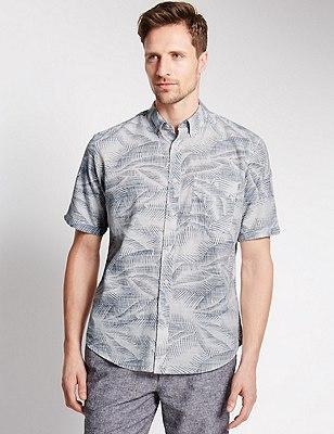 Pure Cotton Slub Leaf Print Shirt, NAVY MIX, catlanding