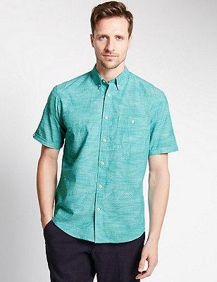Pure Cotton Slub Leaf Print Shirt, SEA GREEN MIX, catlanding